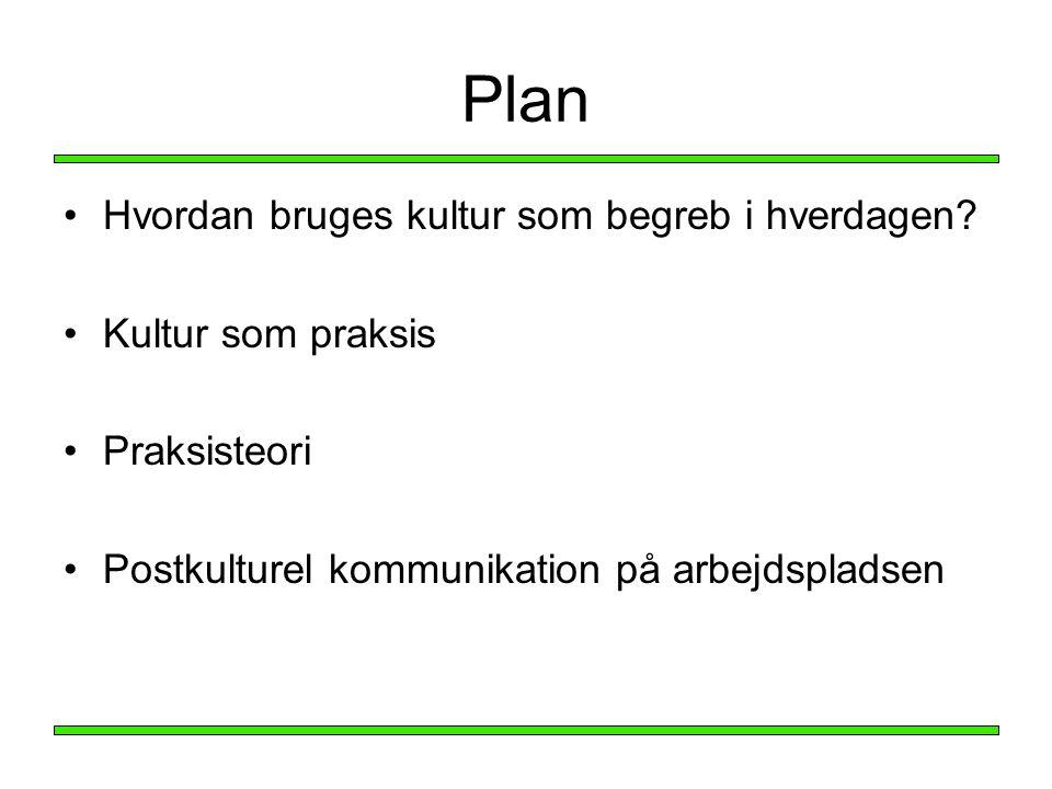 Plan Hvordan bruges kultur som begreb i hverdagen Kultur som praksis