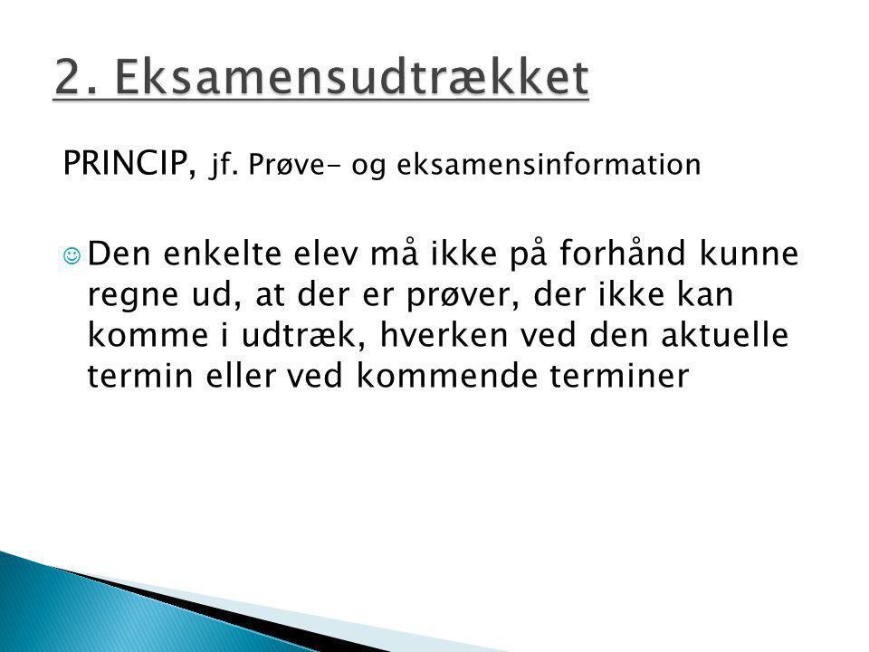 2. Eksamensudtrækket PRINCIP, jf. Prøve- og eksamensinformation