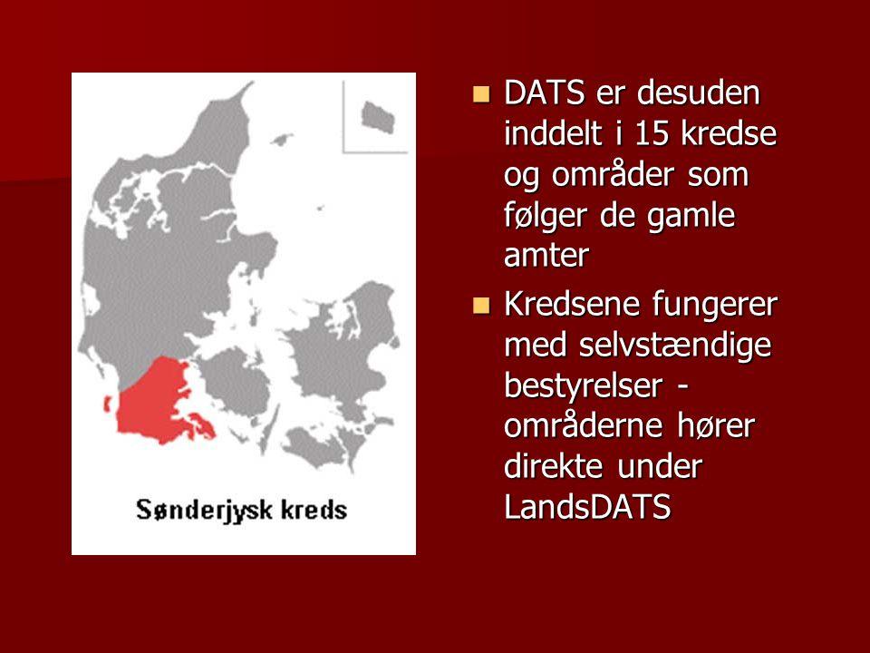 DATS er desuden inddelt i 15 kredse og områder som følger de gamle amter