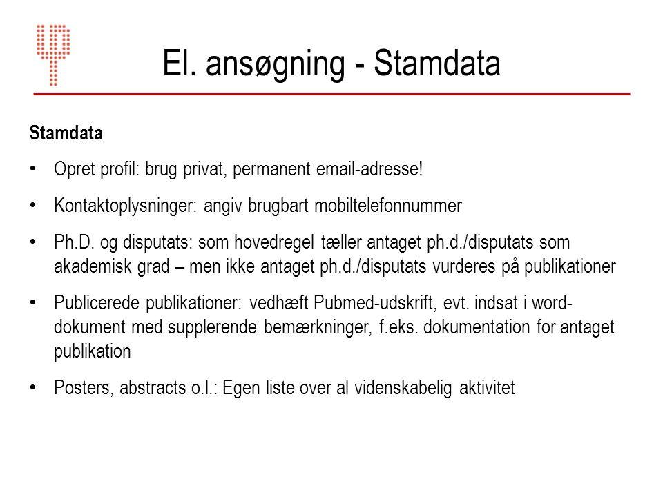 El. ansøgning - Stamdata