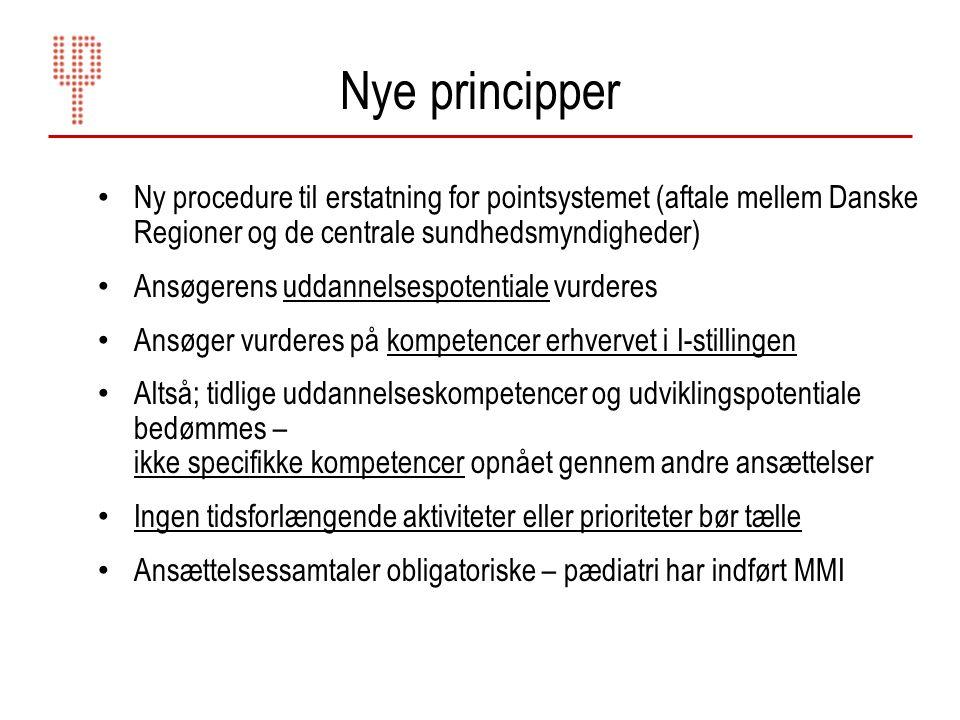 Nye principper Ny procedure til erstatning for pointsystemet (aftale mellem Danske Regioner og de centrale sundhedsmyndigheder)