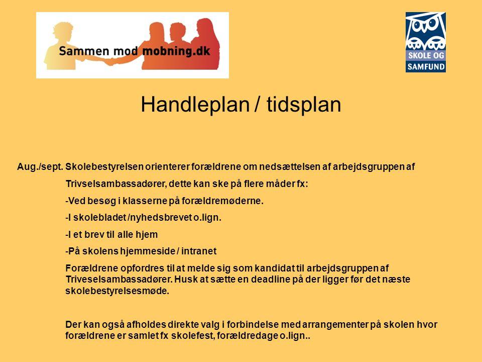 Handleplan / tidsplan Aug./sept. Skolebestyrelsen orienterer forældrene om nedsættelsen af arbejdsgruppen af.