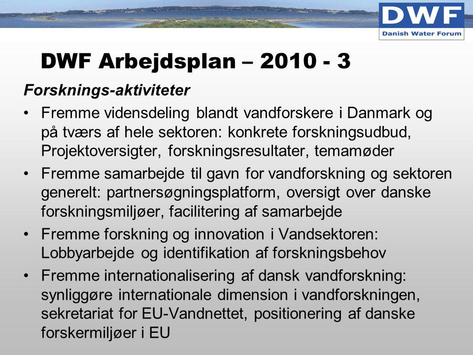 DWF Arbejdsplan – 2010 - 3 Forsknings-aktiviteter