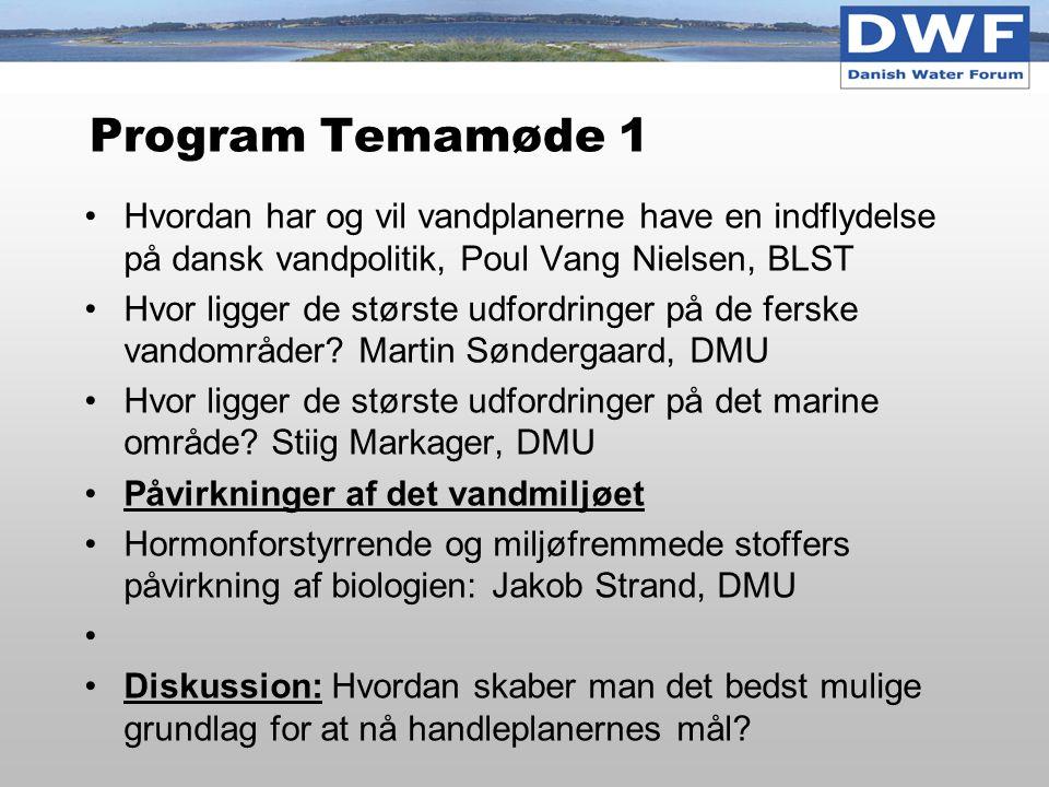 Program Temamøde 1 Hvordan har og vil vandplanerne have en indflydelse på dansk vandpolitik, Poul Vang Nielsen, BLST.