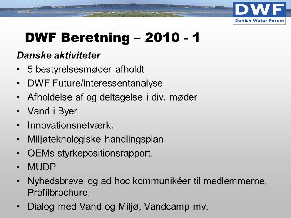 DWF Beretning – 2010 - 1 Danske aktiviteter 5 bestyrelsesmøder afholdt