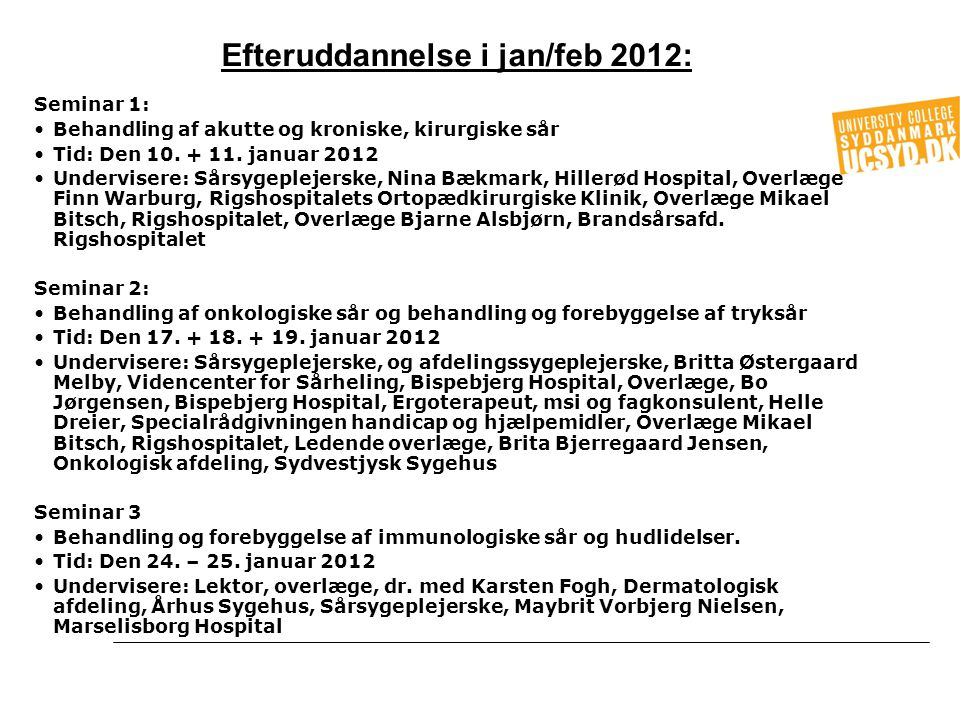 Efteruddannelse i jan/feb 2012: