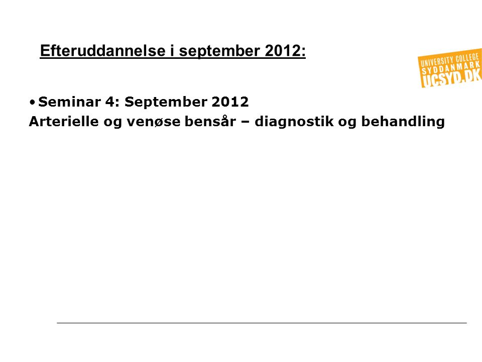 Efteruddannelse i september 2012: