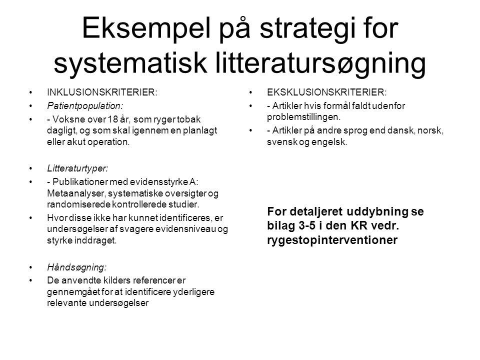Eksempel på strategi for systematisk litteratursøgning