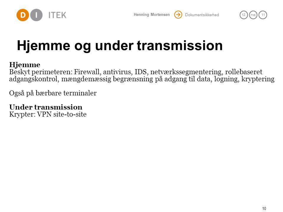 Hjemme og under transmission