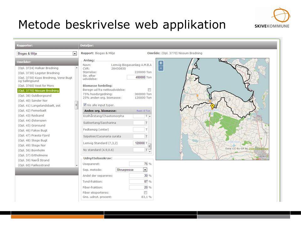 Metode beskrivelse web applikation