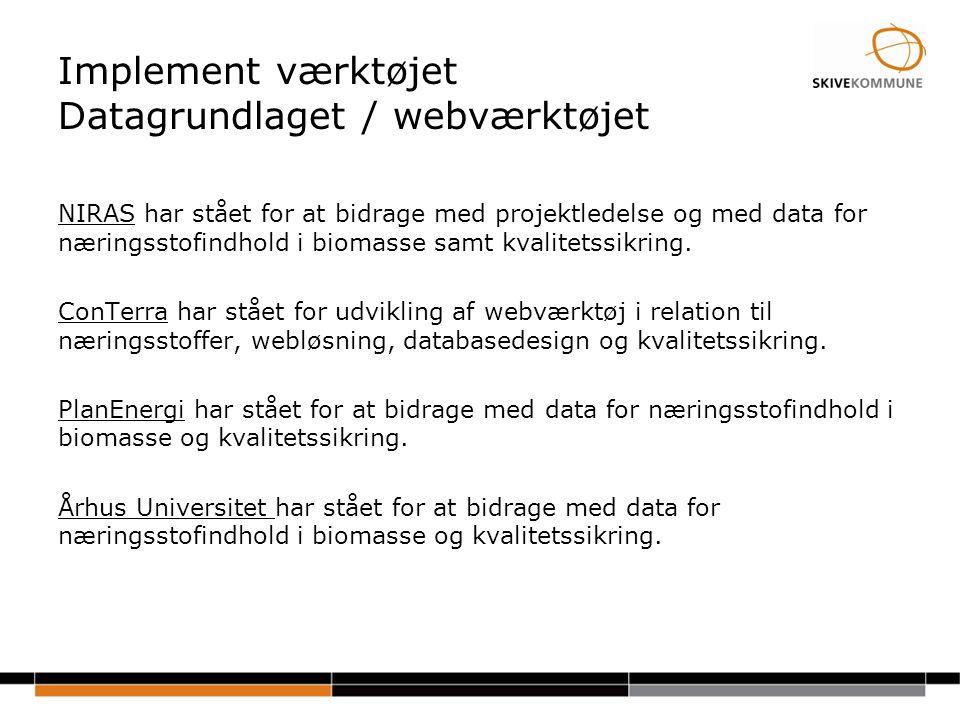 Implement værktøjet Datagrundlaget / webværktøjet