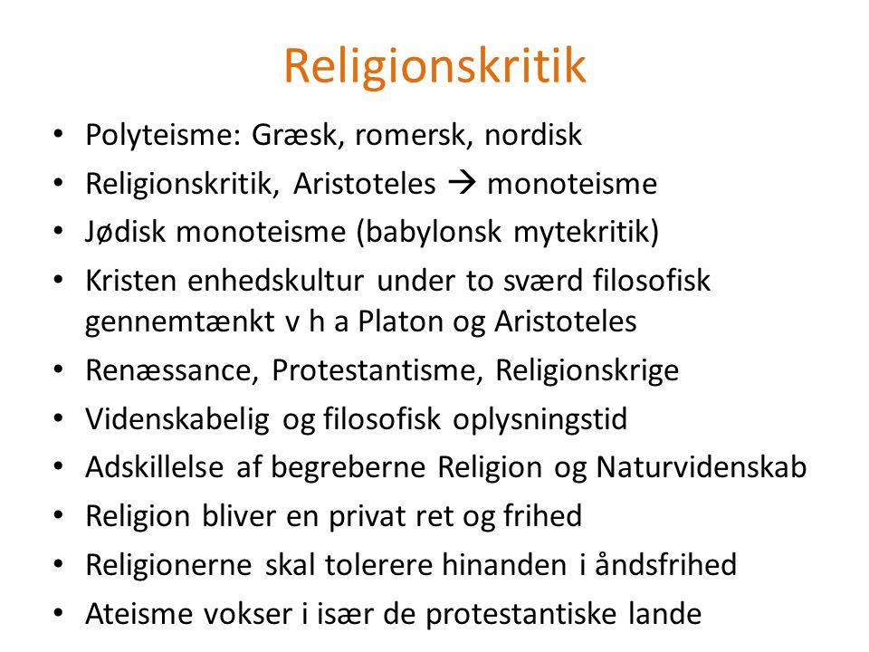 Religionskritik Polyteisme: Græsk, romersk, nordisk