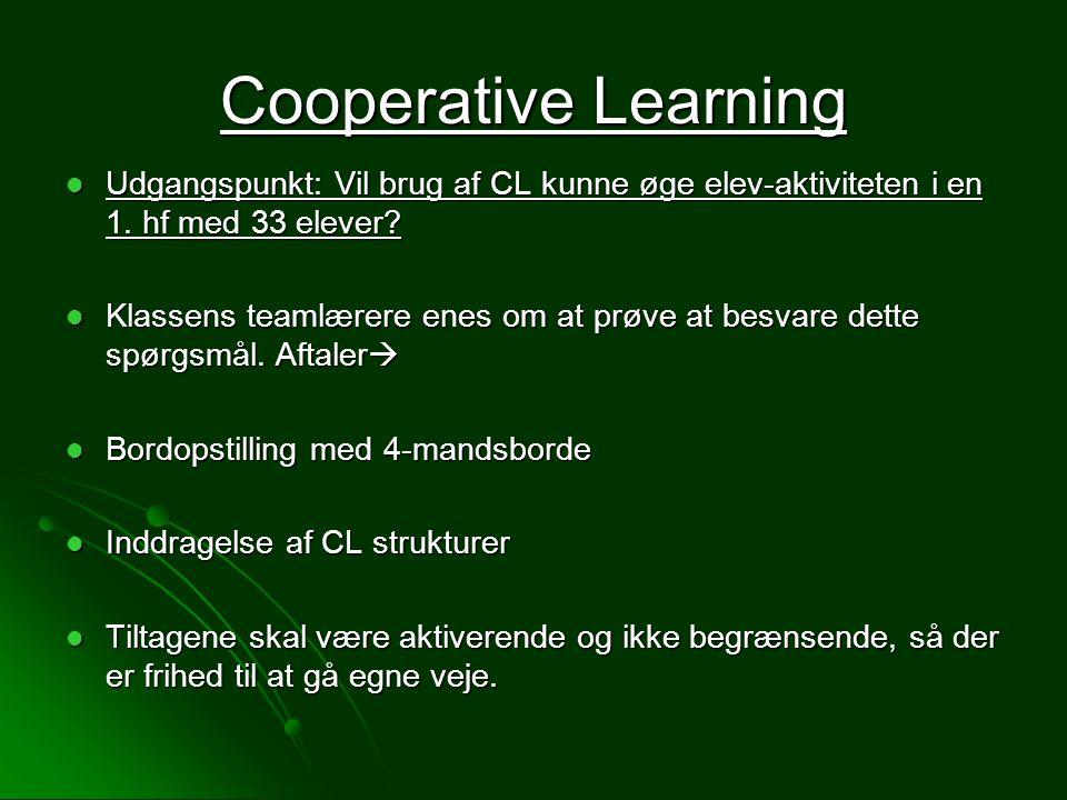 Cooperative Learning Udgangspunkt: Vil brug af CL kunne øge elev-aktiviteten i en 1. hf med 33 elever