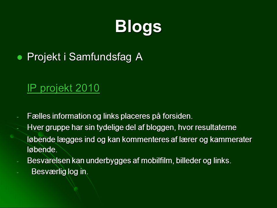 Blogs Projekt i Samfundsfag A IP projekt 2010