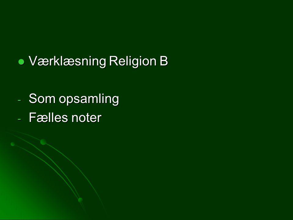 Værklæsning Religion B