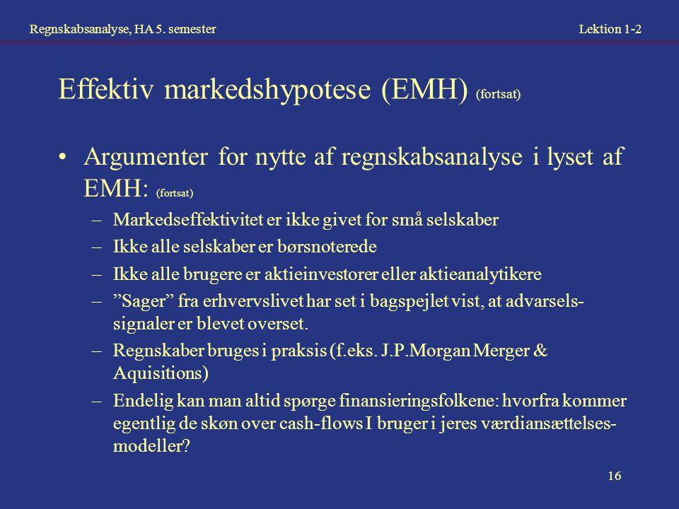 Effektiv markedshypotese (EMH) (fortsat)
