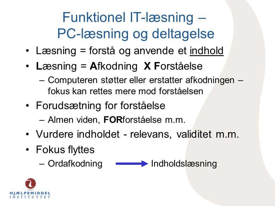 Funktionel IT-læsning – PC-læsning og deltagelse