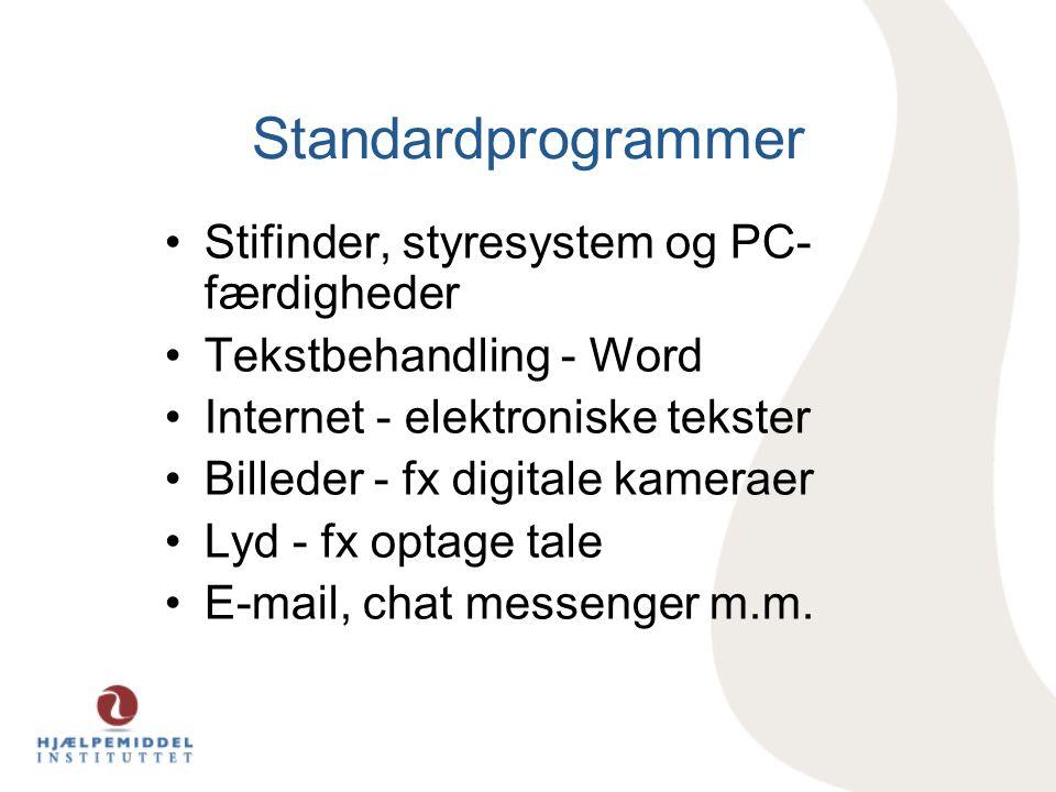 Standardprogrammer Stifinder, styresystem og PC-færdigheder