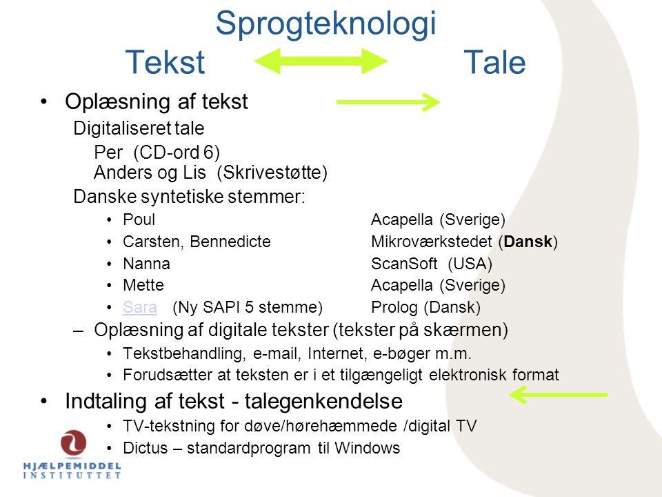 Sprogteknologi Tekst Tale