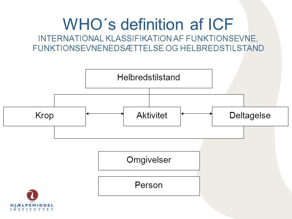 WHO´s definition af ICF INTERNATIONAL KLASSIFIKATION AF FUNKTIONSEVNE, FUNKTIONSEVNENEDSÆTTELSE OG HELBREDSTILSTAND