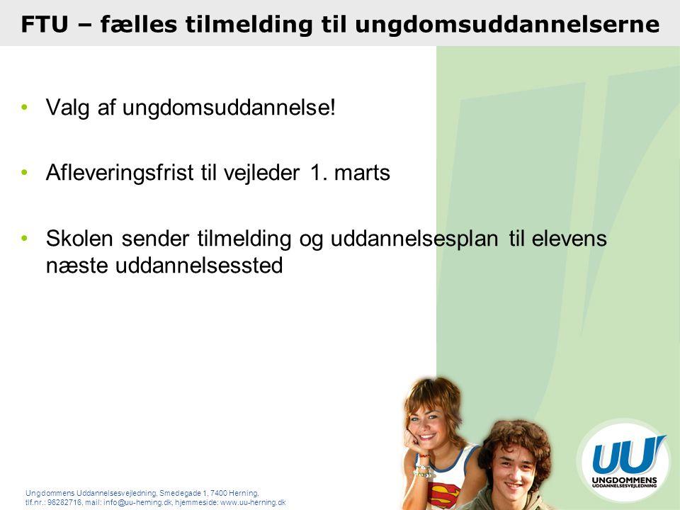 FTU – fælles tilmelding til ungdomsuddannelserne