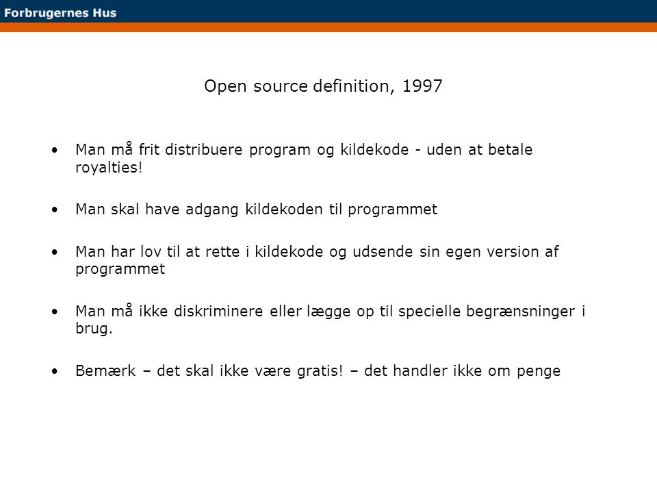 Open source definition, 1997