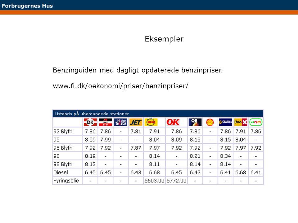 Eksempler Benzinguiden med dagligt opdaterede benzinpriser.