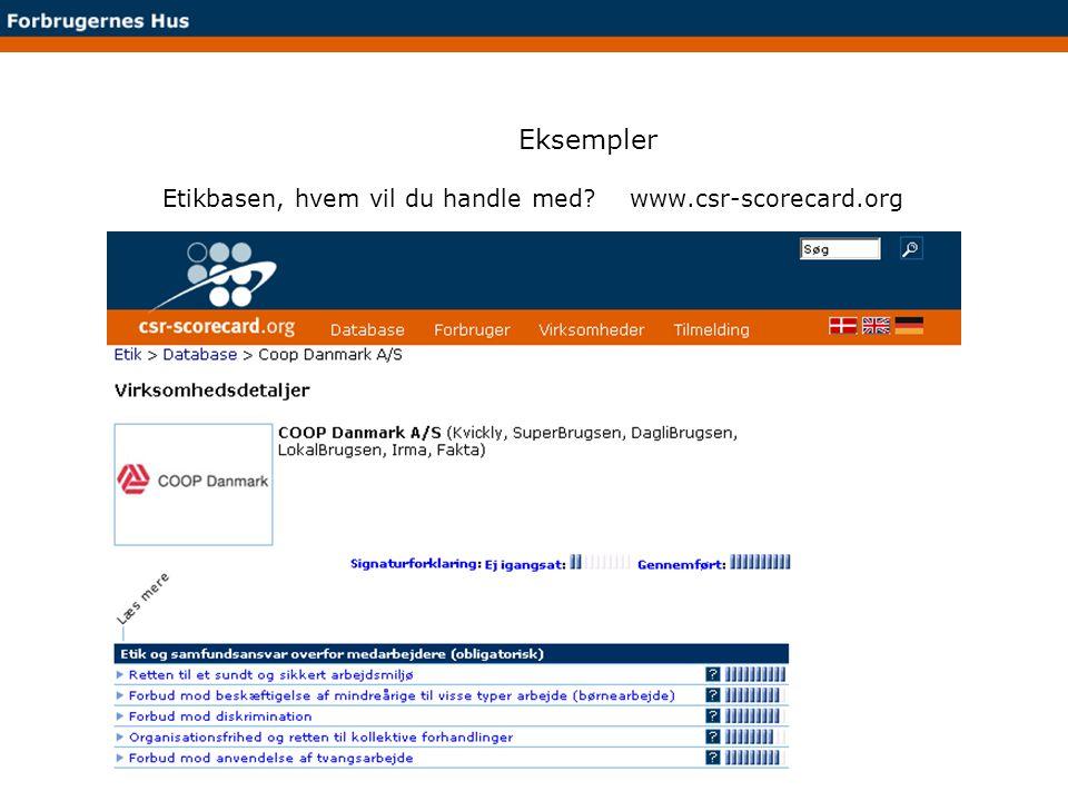 Eksempler Etikbasen, hvem vil du handle med www.csr-scorecard.org