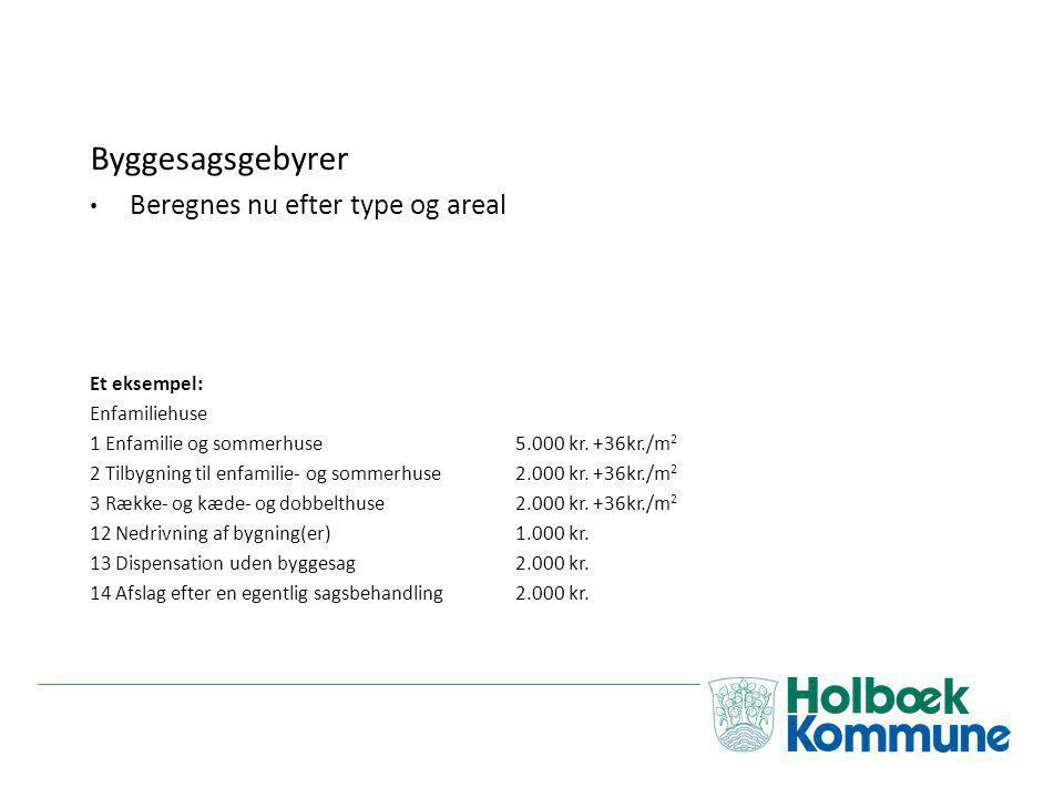 Byggesagsgebyrer Beregnes nu efter type og areal Et eksempel: