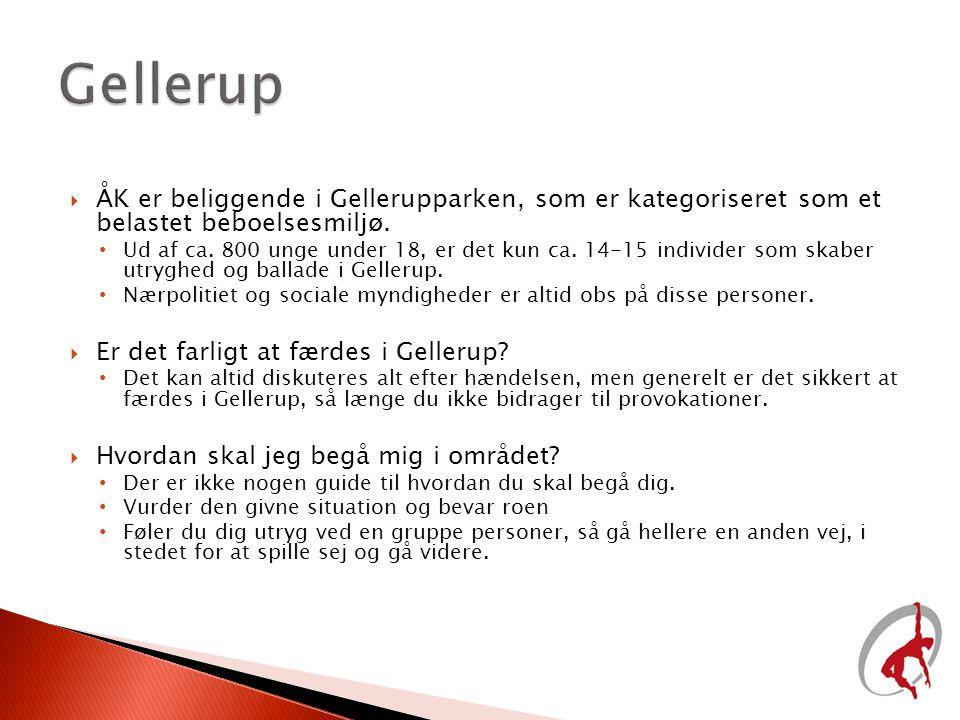 Gellerup ÅK er beliggende i Gellerupparken, som er kategoriseret som et belastet beboelsesmiljø.