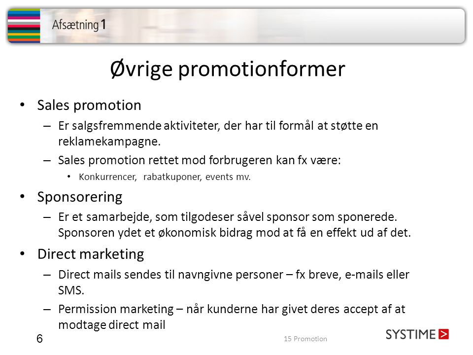 Øvrige promotionformer