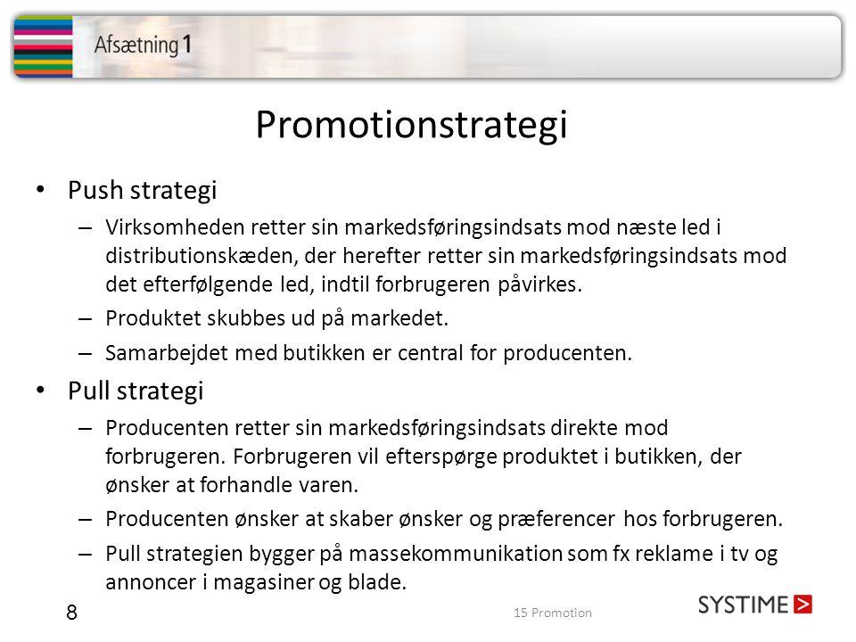 Promotionstrategi Push strategi Pull strategi