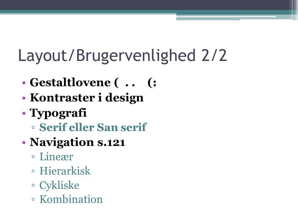 Layout/Brugervenlighed 2/2