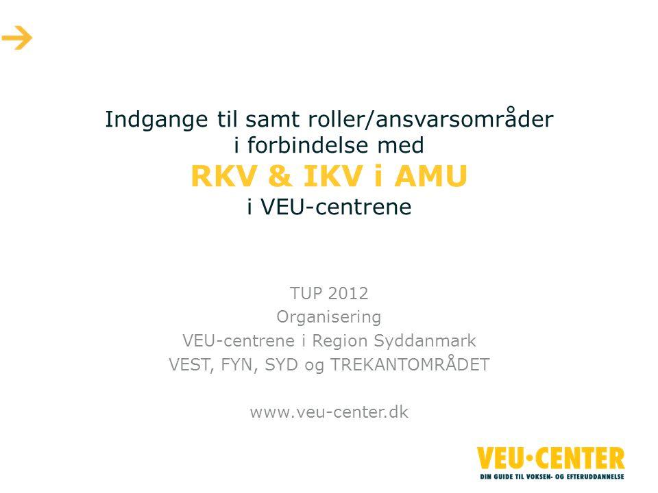 Indgange til samt roller/ansvarsområder i forbindelse med RKV & IKV i AMU i VEU-centrene