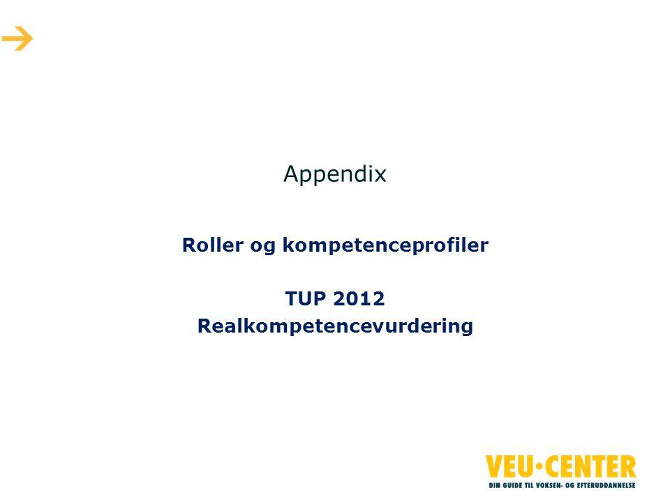 Roller og kompetenceprofiler TUP 2012 Realkompetencevurdering