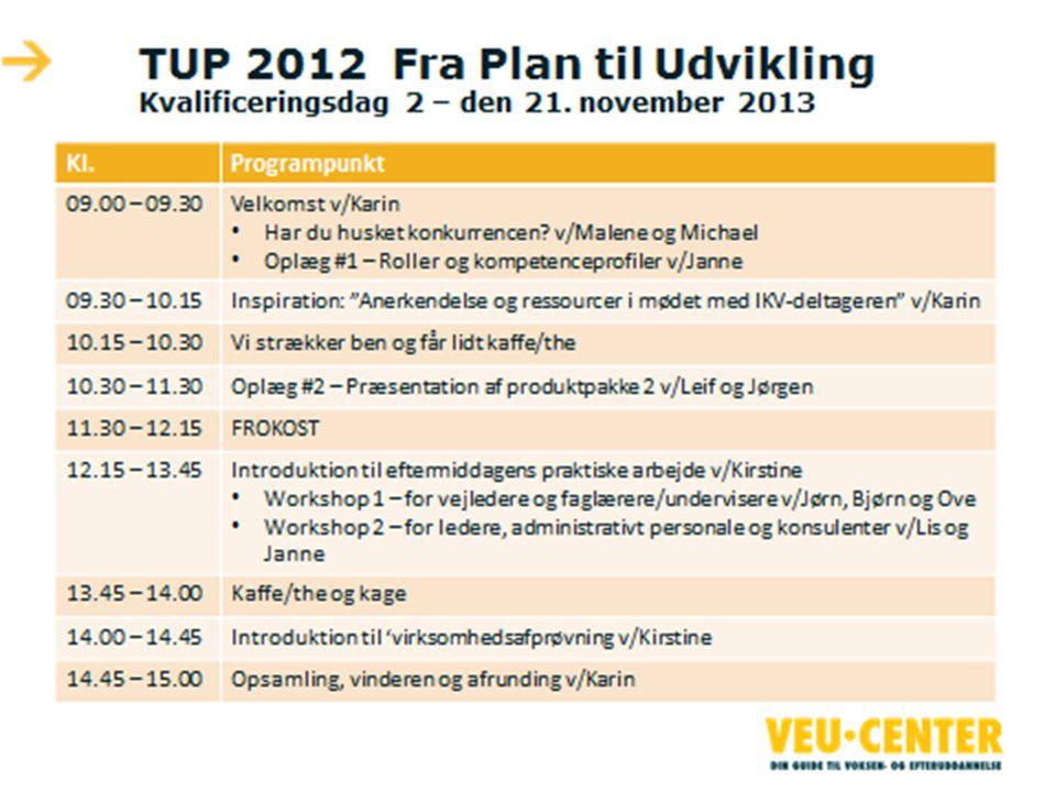 TUP 2012 Fra Plan til Udvikling Kvalificeringsdag 2 – den 21