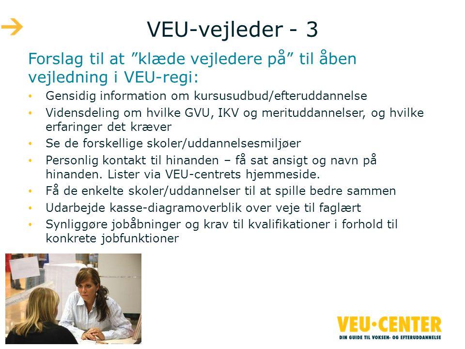 VEU-vejleder - 3 Forslag til at klæde vejledere på til åben vejledning i VEU-regi: Gensidig information om kursusudbud/efteruddannelse.