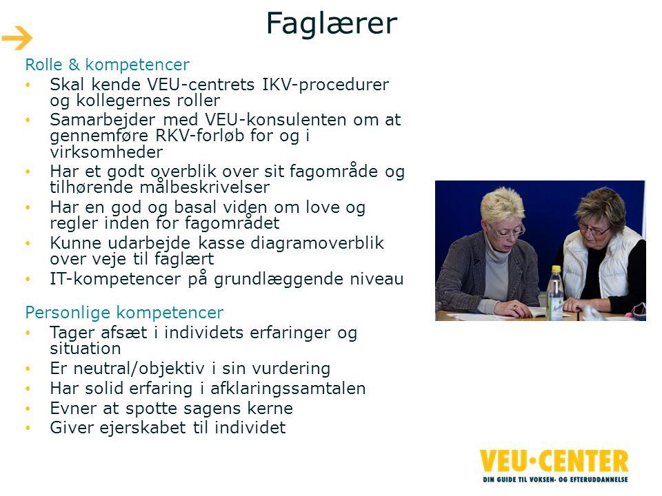 Faglærer Skal kende VEU-centrets IKV-procedurer og kollegernes roller