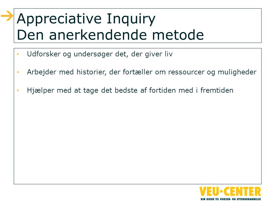 Appreciative Inquiry Den anerkendende metode