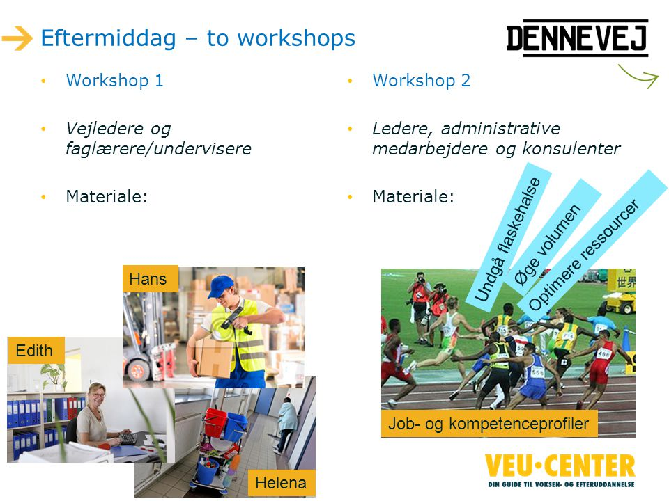 Eftermiddag – to workshops