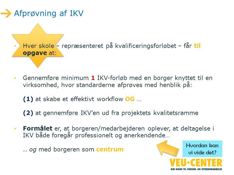 Afprøvning af IKV Hver skole – repræsenteret på kvalificeringsforløbet – får til opgave at:
