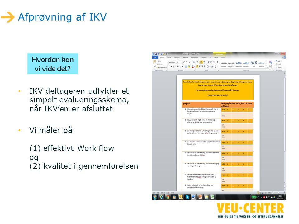 Afprøvning af IKV IKV deltageren udfylder et simpelt evalueringsskema, når IKV'en er afsluttet.