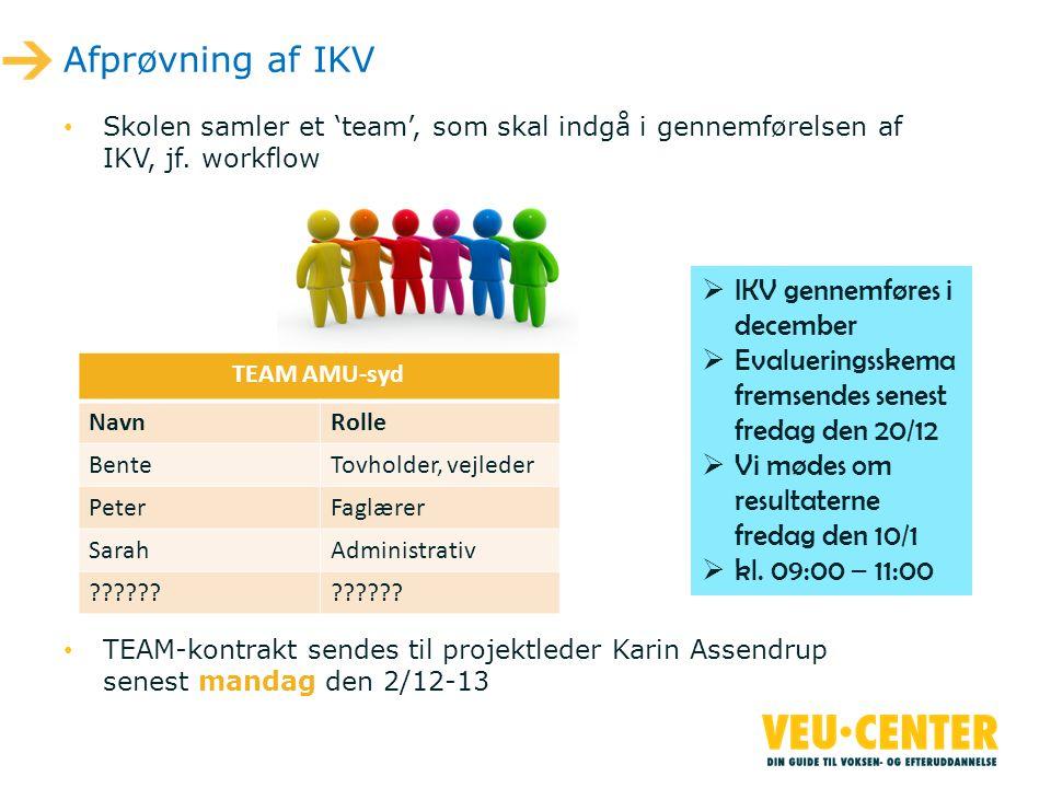 Afprøvning af IKV IKV gennemføres i december