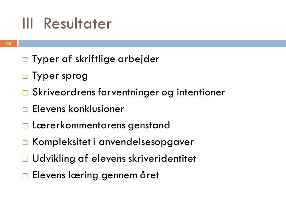 III Resultater Typer af skriftlige arbejder Typer sprog