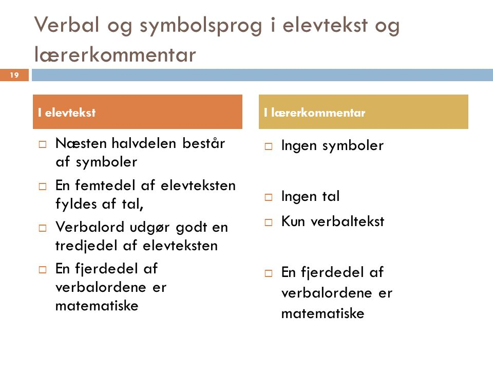 Verbal og symbolsprog i elevtekst og lærerkommentar