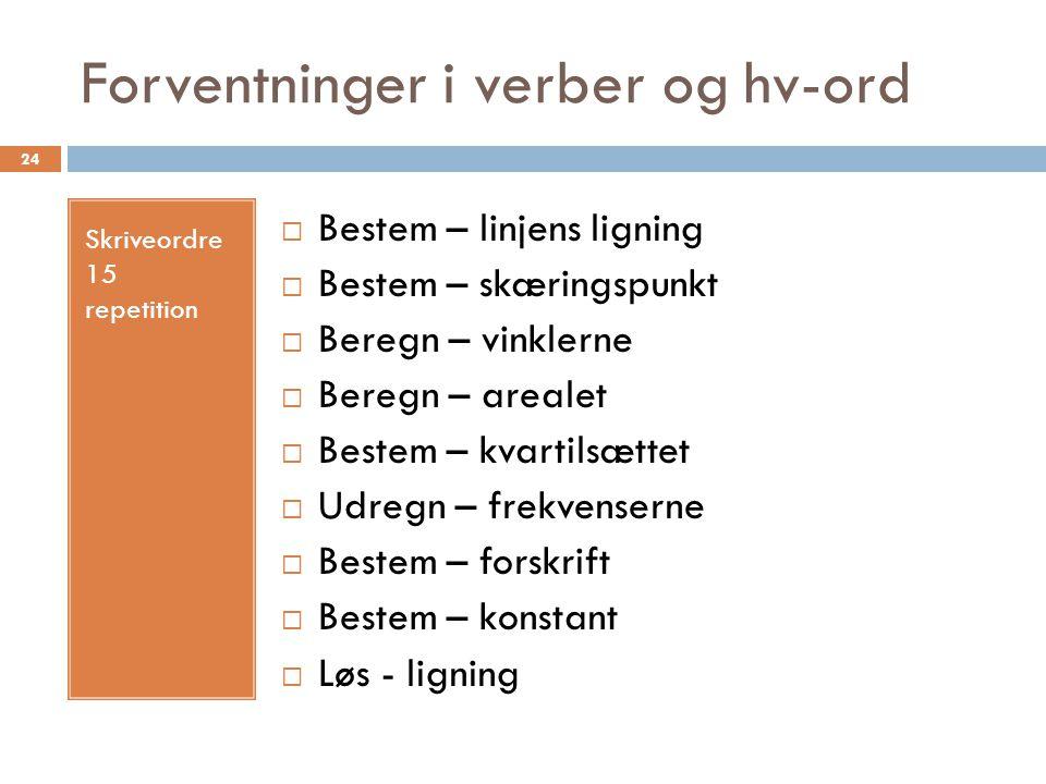 Forventninger i verber og hv-ord