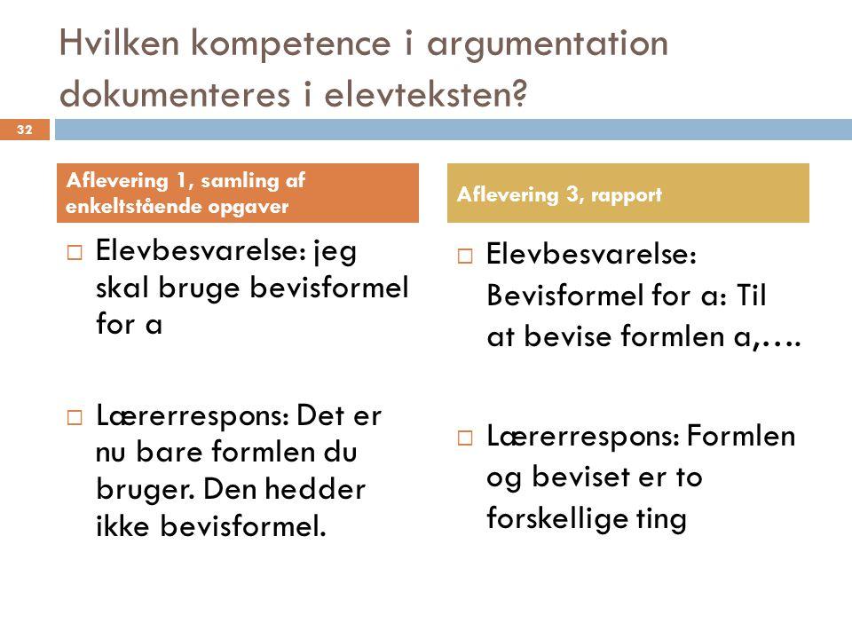 Hvilken kompetence i argumentation dokumenteres i elevteksten