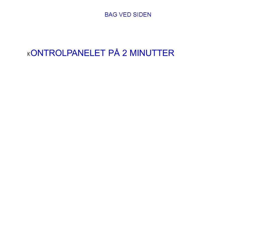 BAG VED SIDEN KONTROLPANELET PÅ 2 MINUTTER