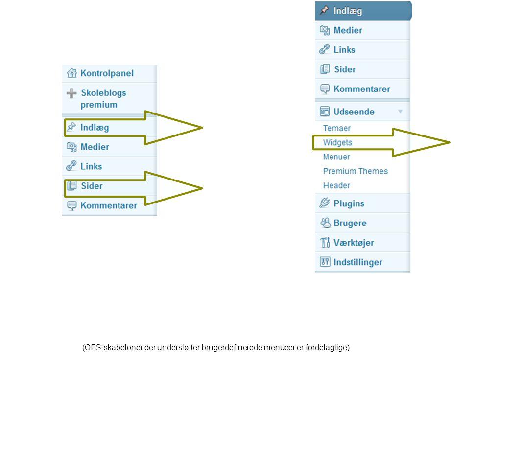 (OBS skabeloner der understøtter brugerdefinerede menueer er fordelagtige)