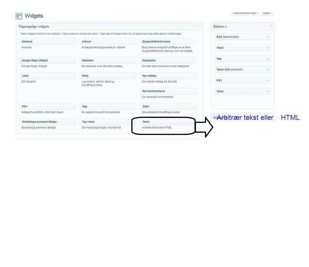 Arbitrær tekst eller HTML